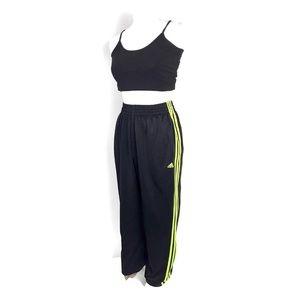 Adidas track pants black neon yellow three stripes